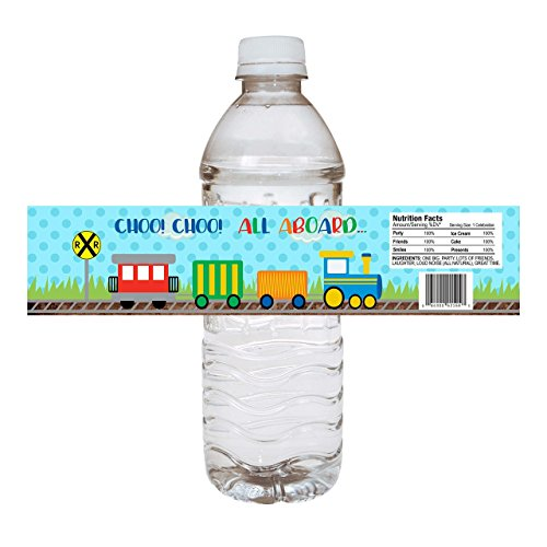 - Train Party Water Bottle Labels - Kids Birthday and Baby Shower Drink Sticker Labels - Set of 12