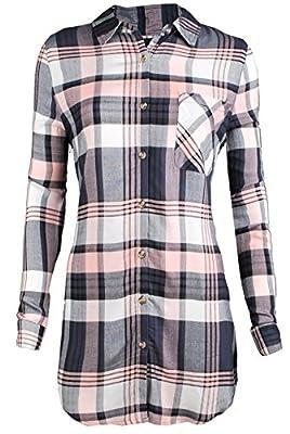 ViiViiKay Women's Long Sleeve Casual Soft Plus Size Plaid Shirt and Shirt Dress