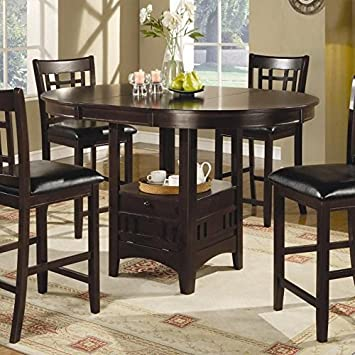 coaster counter height dining table extension leaf dark cappuccino finish - Kitchen Table Counter