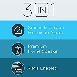 Alexa Enabled Smoke Detector and Carbon Monoxide Detector Alarm with Premium Home Speaker, Onelink Safe & Sound by First…