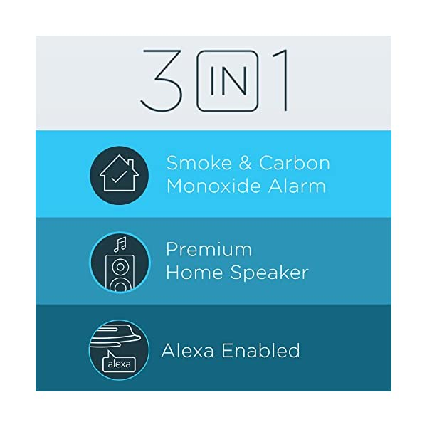 Alexa Enabled Smoke Detector and Carbon Monoxide Detector Alarm with Premium Home Speaker, Onelink Safe & Sound by First… 2