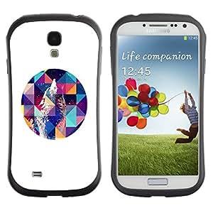 "Hypernova Slim Fit Dual Barniz Protector Caso Case Funda Para SAMSUNG Galaxy S4 IV / i9500 / i9515 / i9505G / SGH-i337 [Howl Arte Blanca Polígono Noche""]"