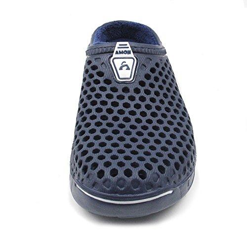 Amoji Winter Slippers House Shoes Interni Casa Zoccoli Blu Marino
