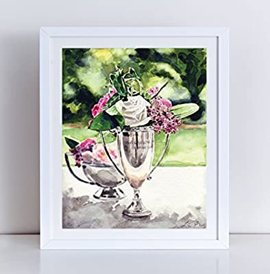 Trophy Florals Horse Race Vintage Centerpiece Flowers Giclee Print of Watercolor Painting 8 x 10, 11 x 14 inches Fine Art Poster Kentucky Derby Triple Crown Horse