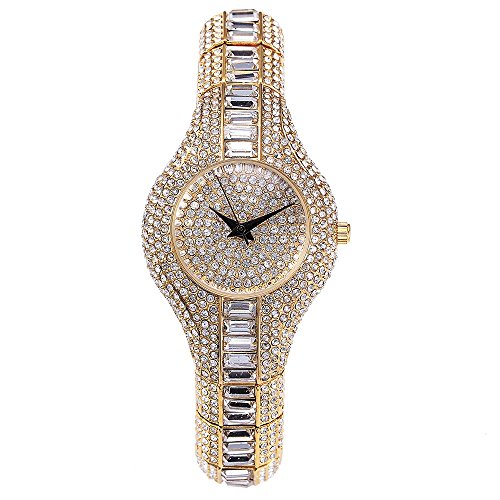 nable Silver Tone Iced Out Slim Bangle Watch for Wedding Gift, 14mm (Date President White Gold Oyster)