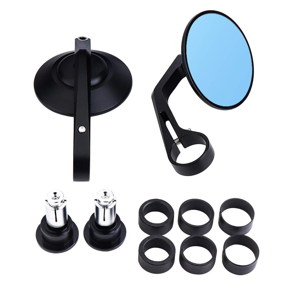processo CNC Vetro Blu antiriflesso GU YONG TAO Specchietto retrovisore Universale per Moto Tondo Facile da installare Bici Sportiva Tutto in Lega di Alluminio per Moto