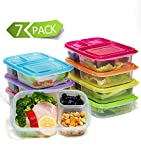 Kitchen & Housewares : Meal Prep Containers 3-Compartment Lunch Boxes Food Storage Containers with Lids,BPA Free Plastic Bento Box Set of 7,Portion Control Divided Cover,Reusable,Microwave Dishwasher Freezer Safe