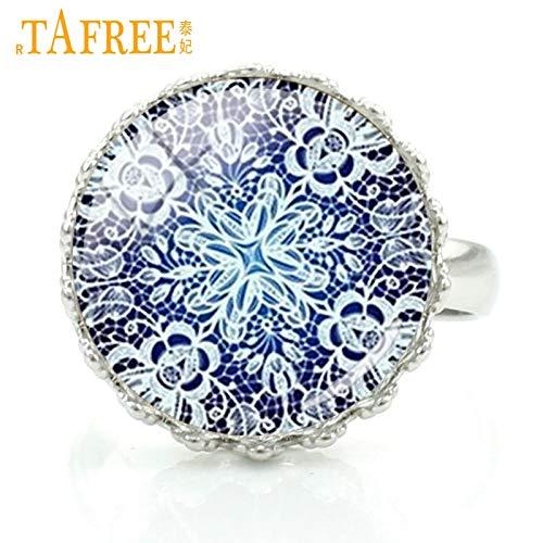 (Rings - 2017 Mandala White Flower Rings for Girlfriends Gifts Women Crown Rings Buddhism Zen Faith Fashion Jewelry H332 - by LVT11-1 PCs)