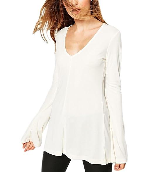 Blusas De Mujer Elegantes Spring Office Wear Joven Camisa Basic Ropa Sencillos V Cuello Slim Fit Tops Manga Trompeta Manga Dama Camiseta Ropa: Amazon.es: ...