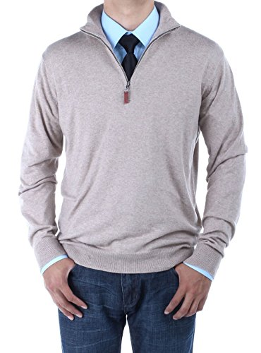 (LN LUCIANO NATAZZI Men's Mock Neck 1/4 Zip Sweater Relaxed Fit (XXXX-Large, Taupe))