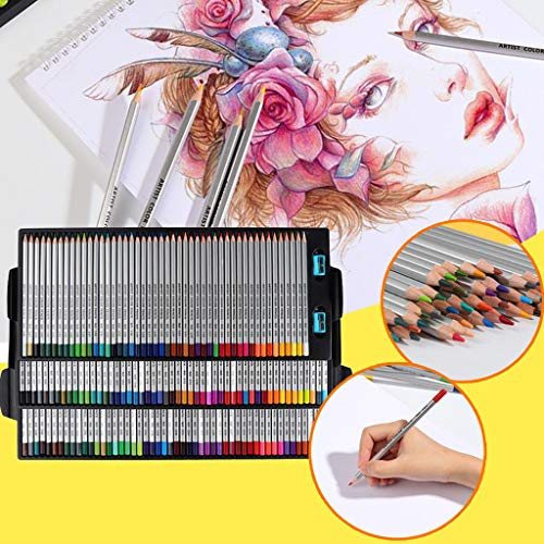Nesee Colored Pencils- Professional Art Wood Premium Distinct Drawing Unleaded Poison Artist Watercolor Color Pencils Set with sharpeners for Adults and Kids, Sketching, 150 Colors (Where Nearest The Is)
