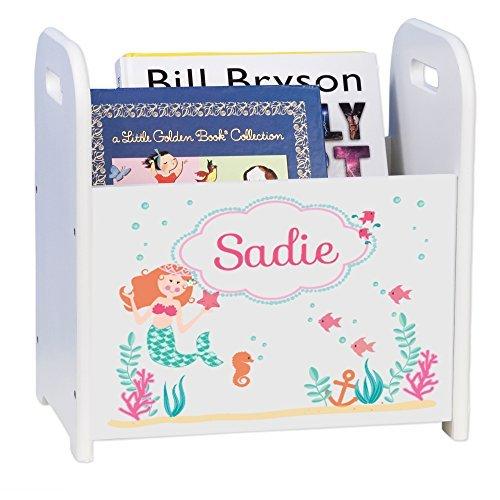 MyBambino Personalized Mermaid Princess Kids Storage Shelf Organizer Baby Room Bookcase Furniture ()