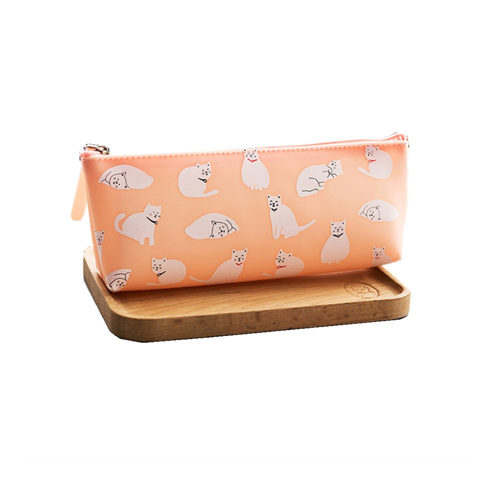 Funny live Jelly Glue Pencil Case Cute Cats Pen Bag Creative Stationery Students Receive Package (Pink)
