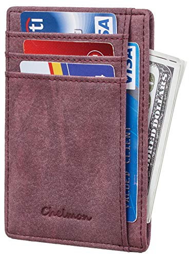 Chelmon Slim Wallet RFID Front Pocket Wallet Minimalist Secure Thin Credit Card Holder (Vinti Red Wine)