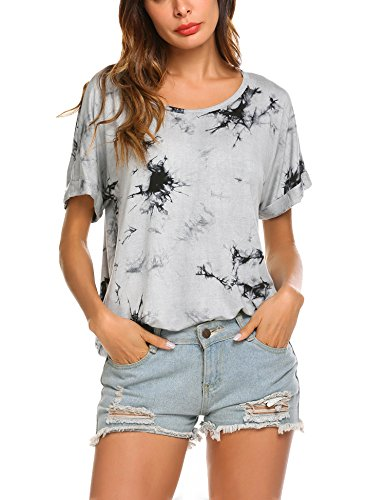 (Wildtrest Womens Summer Tie Dyed Tops Loose Casual Tees T-Shirt Black)