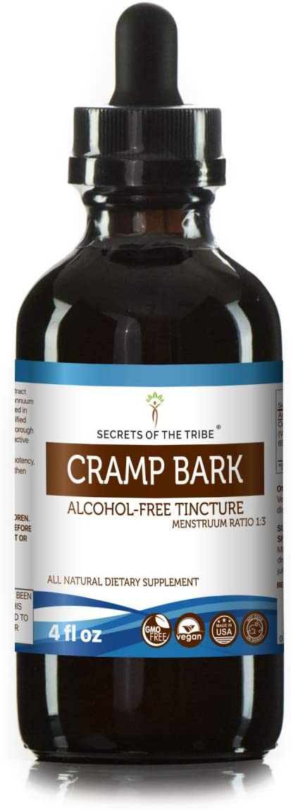Cramp Bark Tincture Alcohol-Free Liquid Extract, Organic Cramp Bark Viburnum Opulus Dried Bark 4 FL OZ
