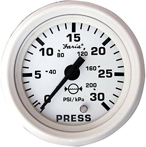 Faria 13108 Dress Water Pressure Gauge Kit 30 PSI-White, 2