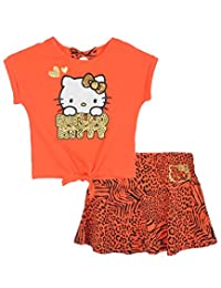 "Hello Kitty Little Girls' ""Cute & Wild"" 2-Piece Outfit - coral, 5"