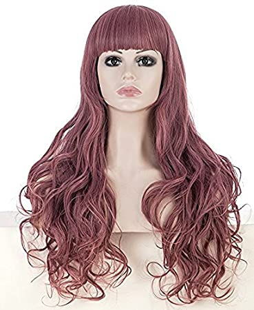 Amazon.com   Smoosky Halloween Women s Mid-length Hair New Big Wavy ... 4a35a24243