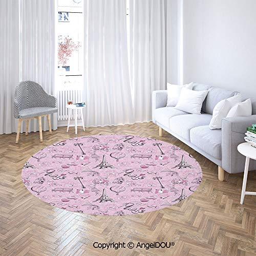 AngelDOU Printed Soft Boys and Girls Round Area Rug Paris Themed Sketch Art with Bike Dog Shoes Street Lamp Hot Air Ballon Bird in Cage for Bedroom - Paris Club Floor Lamp