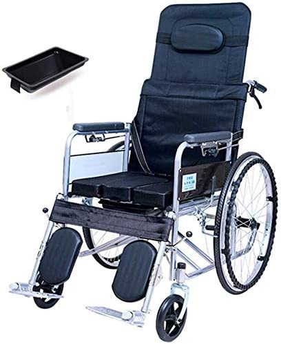 Asiento para ducha Baño Sillas de ruedas plegable reclinable silla de ruedas, respaldo alto Silla Cómoda de la cabecera Aseo, mecánica de cinco velocidades varilla de ajuste del respaldo, for las pers