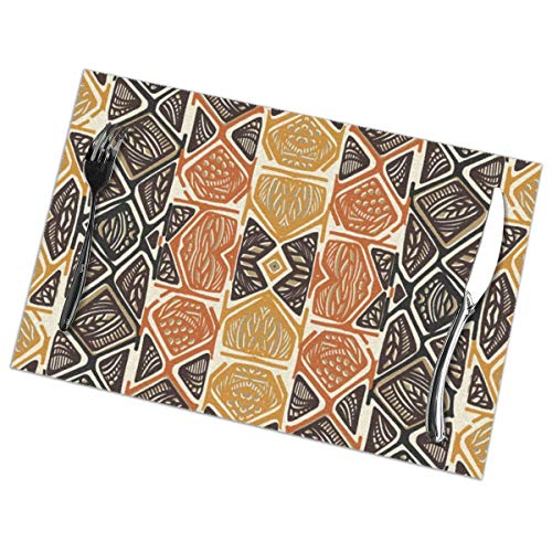 KSIYAF African Tribal Placemats,Polyester Table Mats Set of 6,Heat Resistant Place Mats for Dining Table Washable Anti-Skid