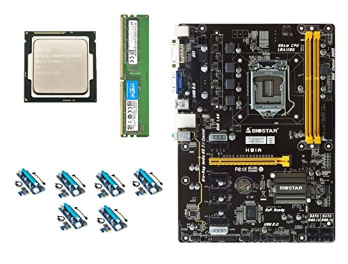Intel Motherboard Cpu Bundles - Build Your Own Barebones Mining Rig Bundle with BIOSTAR H81 CryptoCurrency Mining Motherboard – Includes Intel G1820 CPU, 4GB DDR3 RAM and PCI-e Risers – Choose from 860-1500W Power Supply, SSD & Case