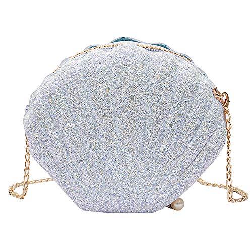 (Felice Women Girls Little Mermaid Seashell Purse Cross-body Shoulder Bags Glitter Sequins Chain Evening Purse)
