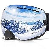 COPOZZ Ski Goggles, G1 Snow Snowboard Skiing Goggles for Women Men Ladies Youth - OTG Over Glasses Anti Fog UV Protection - Multicolo (Silver)