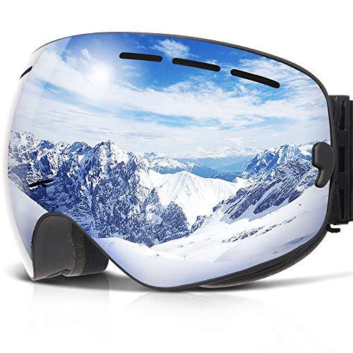 (COPOZZ Ski Goggles, G1 OTG Snowboard Snow Goggles for Men Women Youth Anti-Fog UV Protection, Polarized Lens Available (G1 Ski Goggles Black Frame/Silver Lens (VLT 10.1%), G1 Ski Goggles))