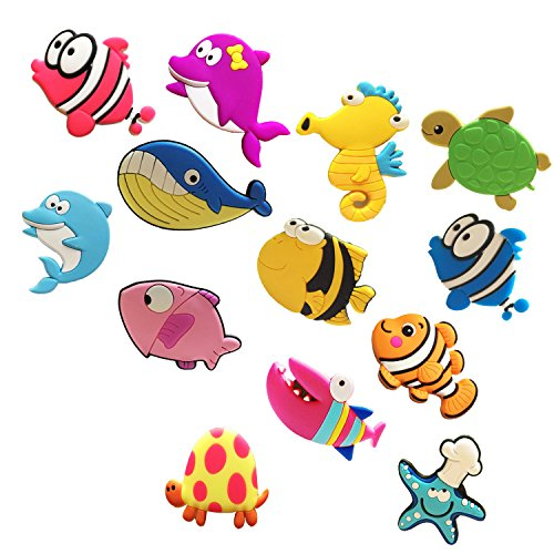 autien Fridge Magnets, Lovely Soft Rubber Kitchen Magnets Funny Sun, Moon, Rainbow, Sunflower, Coconut Tree, Bicycle, Castle, Clouds, Fish, Turtle, Seahorse, Shark, Dolphins Pattern Magnets (Style - Fish Magnet Refrigerator Fridge