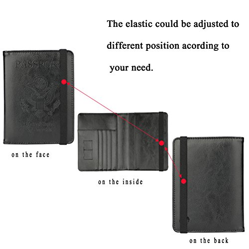 GDTK Leather Passport Holder Cover Case RFID Blocking Travel Wallet (Black #3)