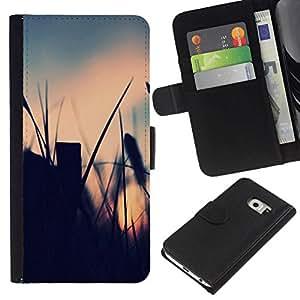 NEECELL GIFT forCITY // Billetera de cuero Caso Cubierta de protección Carcasa / Leather Wallet Case for Samsung Galaxy S6 EDGE // El campo de verano