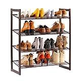 LANGRIA 4-Tier Tilted Shoe Racks Storage for 16 Pairs of Shoes Space-Saving Metal Shoe Organiser Stand with Anti-Scratch Floor Caps for Hallway Wardrobe Bedroom (74 x 30 x 82 cm, Bronze)