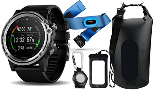 Dive Bundle - Garmin Descent Mk1 (Silver/Black Band) Dive Computer & GPS Watch | Bundle with HRM-Swim, Garmin Carabiner Clip, PlayBetter Waterproof Dry Bag & Cell Pouch | Extra-Long Strap | Sapphire Version