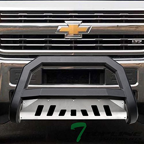 Topline Autopart Matte Black AVT Style Bull Bar Brush Push Front Bumper Grill Grille Guard With Aluminum Skid Plate For 11-18 Chevy Silverado ; 11-18 GMC Sierra 2500 HD / 3500 HD