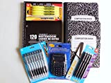 Back to School Bundle 7 Items- Pocket Calculator, College Ruled 3 Subject Notebook, 2 Composition Notebooks, 8 Retractable Ballpoint Pens, 4 Mechanical Pencils, 4 Highlighters Supplies Pens and Paper for College, Teens, and Teachers