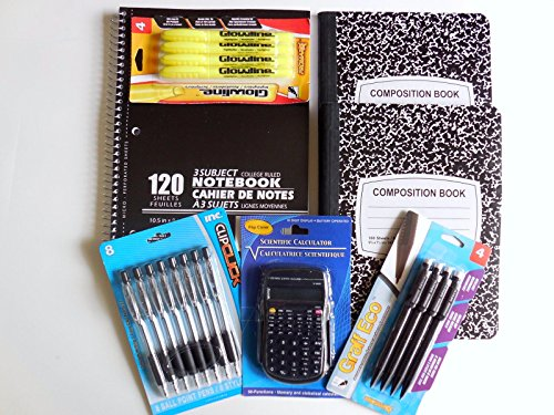 Back to School Bundle 7 Items- Pocket Calculator, College Ruled 3 Subject Notebook, 2 Composition Notebooks, 8 Retractable Ballpoint Pens, 4 Mechanical Pencils, 4 Highlighters Supplies Pens and Paper for College, Teens, and Teachers by Unknown (Image #8)