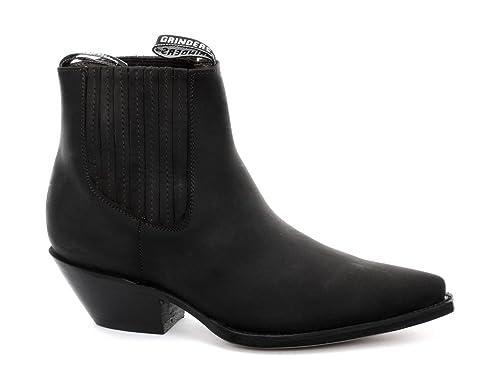 Grinders Mustang Hombre Cowboy Botines, Negro, Negro (Oily Full Black), 37: Amazon.es: Zapatos y complementos