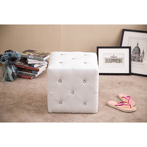 Forza White Cubed Ottoman Stool with Crystal Accents
