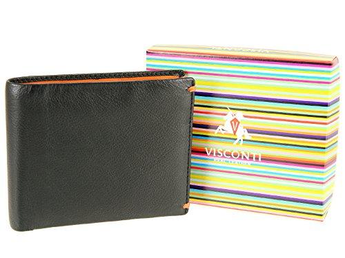 Wallet Notes Black Credit Visconti For Orange Leather Bifold Orange Cards Mens AP62 Alpine Black Slim HHq8IA