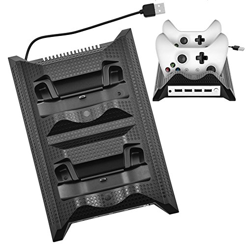 fosa Stand Cooling Fan with Dual USB HUB Charger for Xbox One Slim Console (Black)