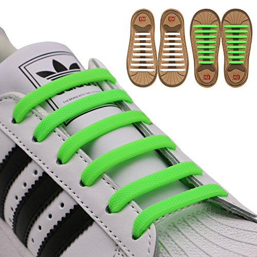 INMAKER No Tie Shoelaces for Kids and Adults (2 Pairs), Elastic Shoelaces for Sneakers, Silicone Flat Tieless Running Shoe (1 Kids Orange White Sneakers)