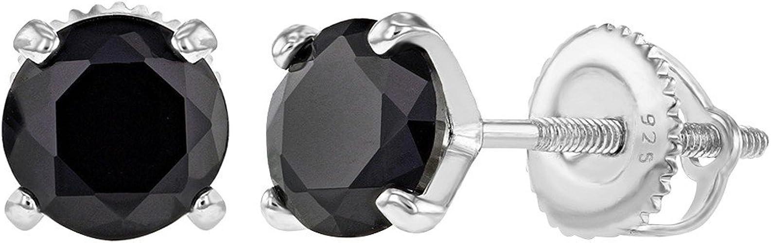 Voroco nuevo S925 Aretes Plata Esterlina Con Negro Cubic Zirconia Belleza Mujer Joyas
