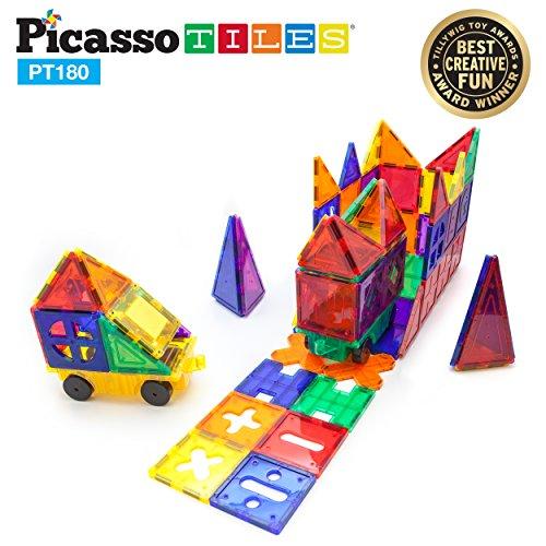 PicassoTiles PT180 Piece Set 180pc Building Block Toy Deluxe Construction Kit Magnet Building Tiles Clear Color Magnetic 3D Construction Playboards Educational Blocks Creativity Beyond Imagination by PicassoTiles (Image #1)