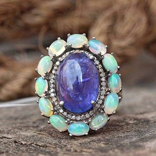 - Natural 0.36 Ct. Pave Diamond Tanzanite, Opal Engagement Ring Solid 925 Sterling Silver Wedding Fine Handmade Jewelry