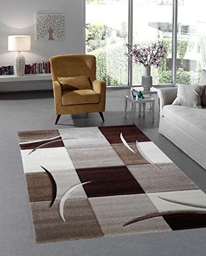 Moderner Designer Teppich Wohnzimmer Kurzflor 3D Konturenschnitt - 80x150 cm - schadstofffrei - Braun Beige
