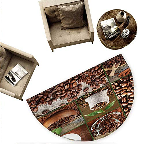 - Brown Semicircular Cushion Collage of Coffee Beans in Cups and Bags with Green Leaves on Wooden Table Photo Entry Door Mat H 78.7