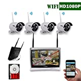 12 inch Screen OOSSXX HD 1080P 8 Channel Wireless Video Security Camera System,4 pcs 1080P Megapixel Wireless Weatherproof Bullet IP Cameras,Plug and Play,70FT Night Vision,P2P,App, 1TB HDD install