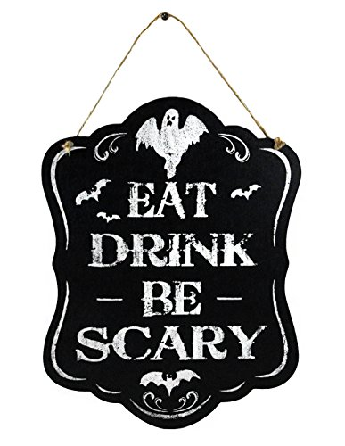 Eat Drink Be Scary Black & White Wood Halloween Wall Hanger
